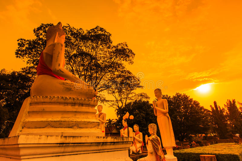 Ancient pagoda at the temple with sunset sky, Thailand. Wat Yai Chai Mongkhol in Ayutthaya province of Thailand stock photos
