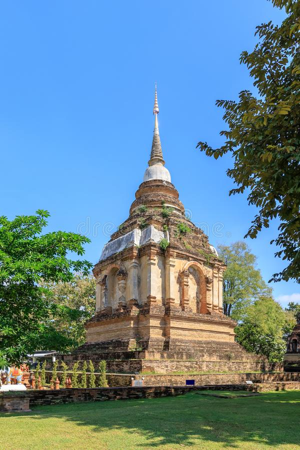 Ancient pagoda at Wat Photharam Maha Wihan Chet Yot Chiang Man in Chiang Mai, North of Thailand.  stock photo