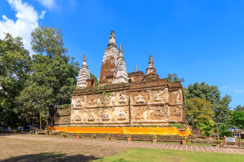 Ancient pagoda at Wat Photharam Maha Wihan Chet Yot Chiang Man in Chiang Mai, North of Thailand.  stock image
