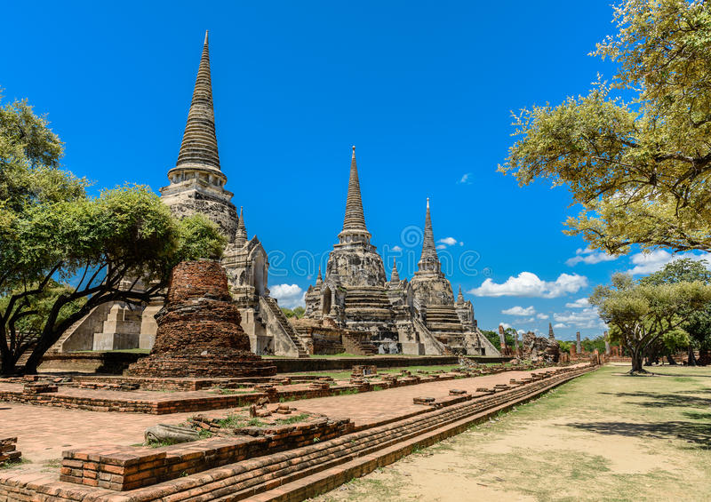 Ancient Pagoda in Wat Phrasisanpetch Phra Si Sanphet. Ayutthay. A historical city, Thailand. Ayutthaya Historical Park stock images