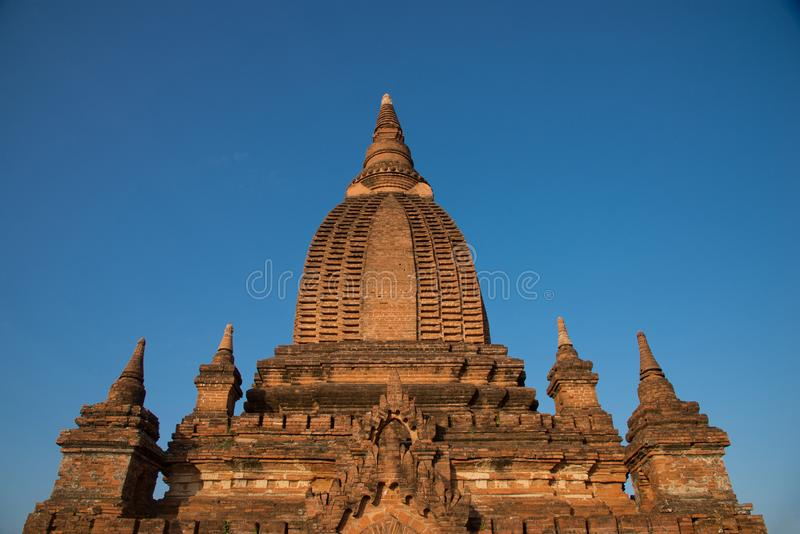 Ancient pagodas unname tample in Bagan under sunrise in morning Mandalay, Myanmar. Travel and exploration in myanmar stock photo