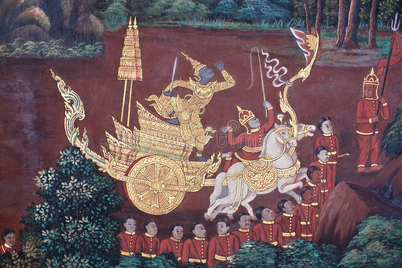 Ancient painted fresco in Thai style royalty free stock photos