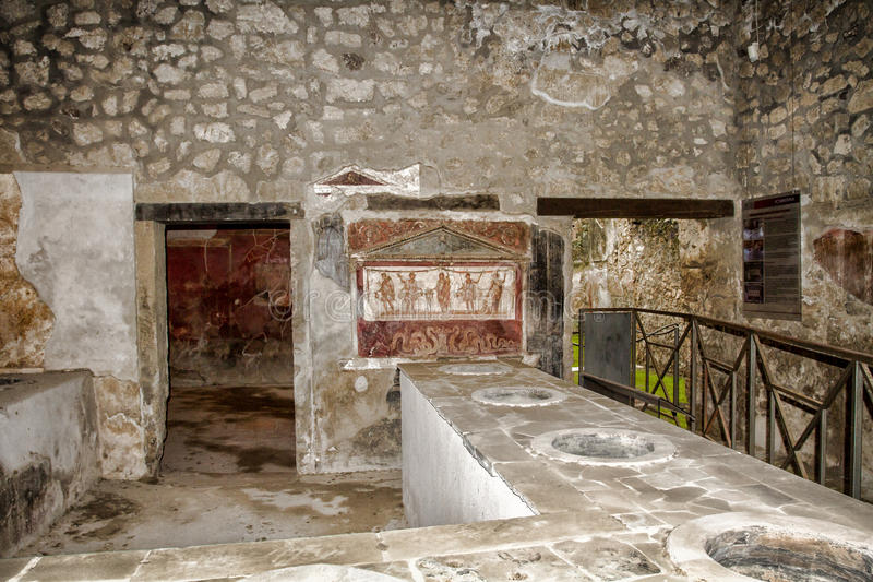 Ancient painted wall stock image
