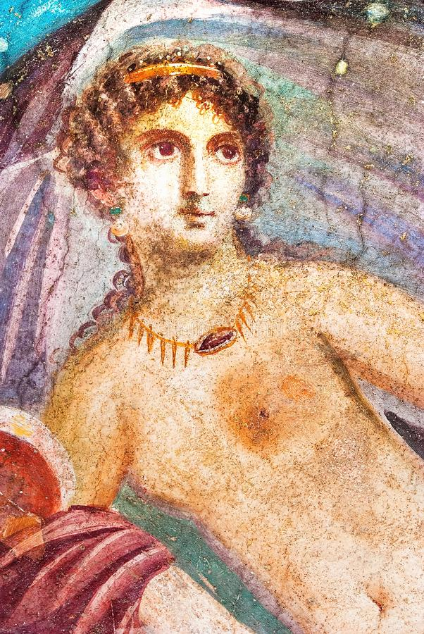 Ancient painted wall fresco of Venus at the ancient Roman city of Pompeii royalty free stock photos