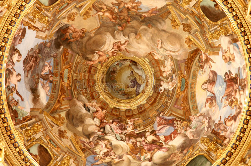 Ancient paintings in Basilica dell'Annunziata royalty free stock image