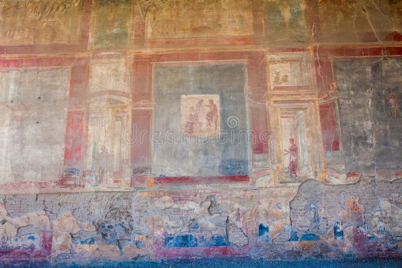 Paintings decorating the ancient walls of the city of Pompeii. Ancient paintings decorating the walls of the city of Pompeii royalty free stock image