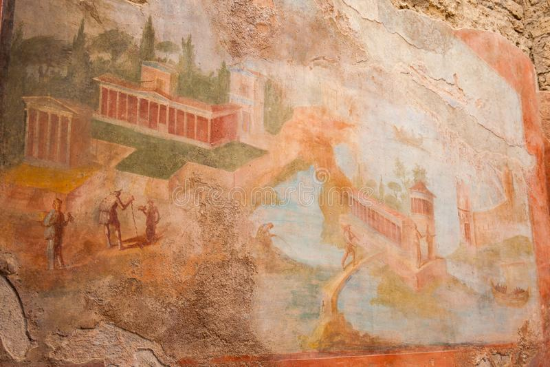 Paintings decorating the ancient walls of the city of Pompeii. Ancient paintings decorating the walls of the city of Pompeii royalty free stock photos