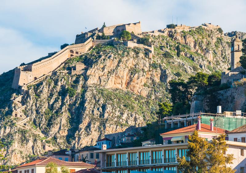 Ancient Palamidi fortress on the rocky hill in Nafplio city, Greece stock photography