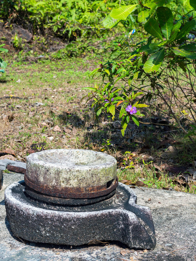 Ancient pan or device used at tin pewter castings. Old pan used at tin mining works. Phuket, Thailand royalty free stock photography