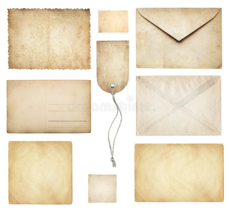 Ancient papers collection: letterhead, envelope, postcard, postage stamp, tag label, old paper blank isolated on white. Retro sty stock photography