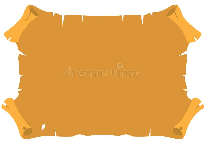 Ancient parchment. Old vintage paper with torn edges. Grunge background royalty free illustration