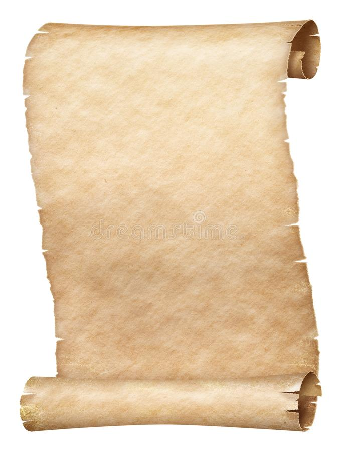 Ancient parchment scroll isolated on white royalty free stock photography