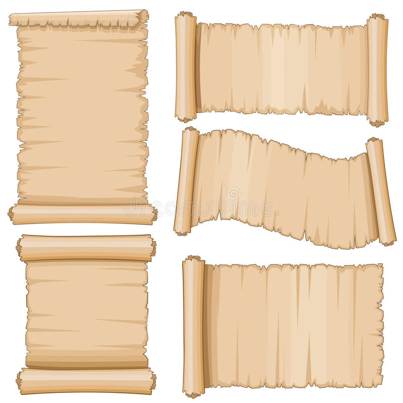 Ancient parchment vector scrolls. Aged scrolling blank paper stock illustration