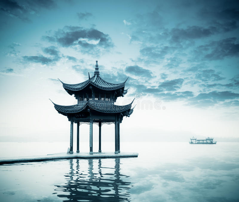 Download Ancient Pavilion On The West Lake Royalty Free Stock Photos - Image: 24003578