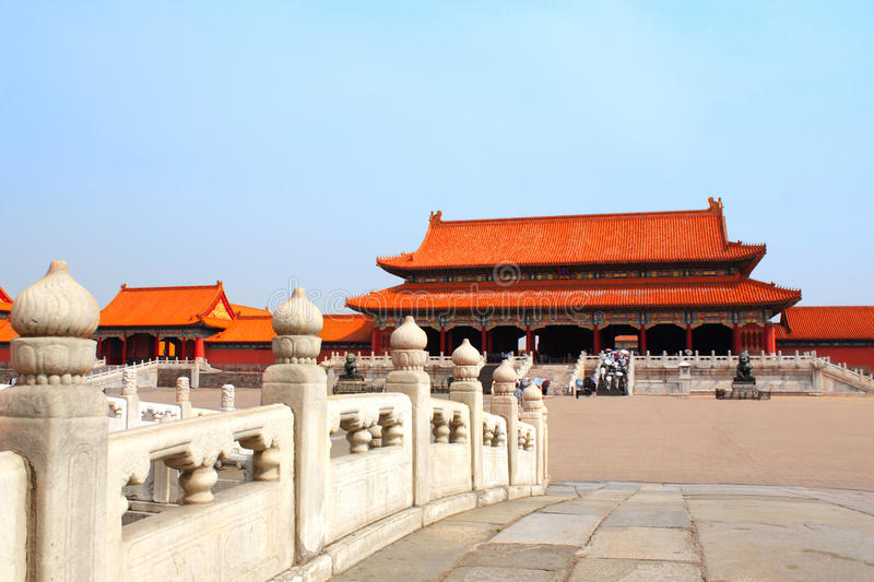 Ancient pavilions in Forbidden City, Beijing, China stock image