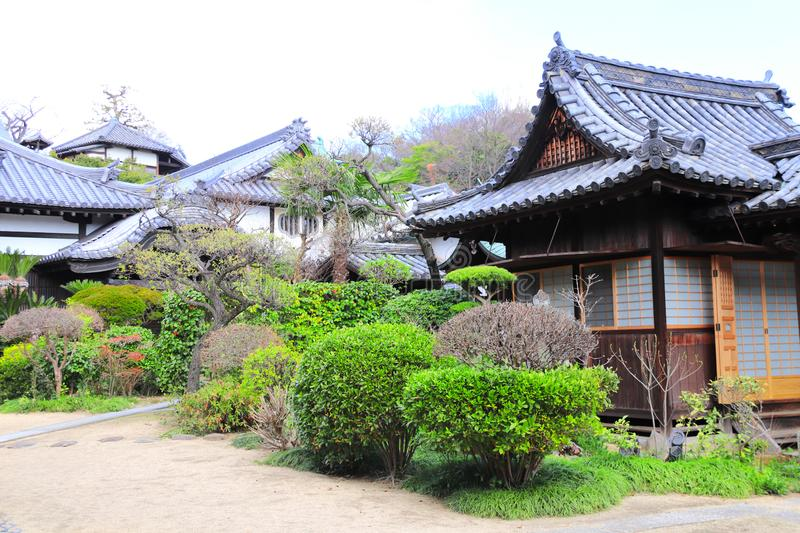 Ancient pavilions in shinto temple, Bikan district, Kurashiki, Japan. Ancient pavilions in shinto temple, Bikan district, Kurashiki city, Japan royalty free stock photo