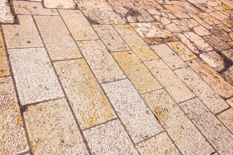 Ancient paving stones on the streets in Jerusalem Old Town, Israel. Ancient time polished paving stones on the streets in Jerusalem Old Town, Israel royalty free stock photos