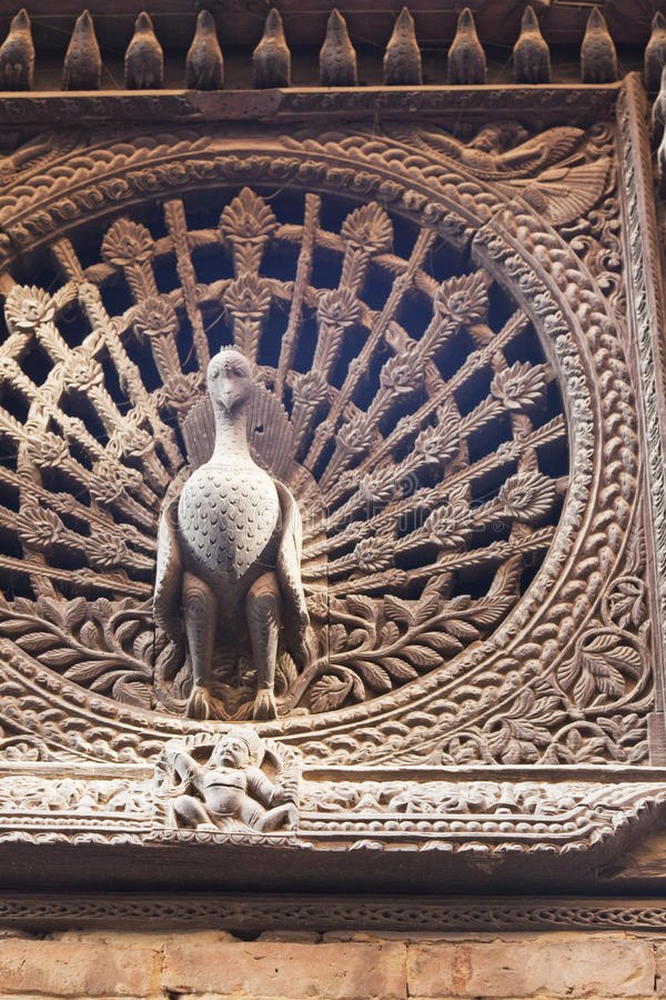 Ancient Peacock Window, Bhaktapur, Nepal stock images