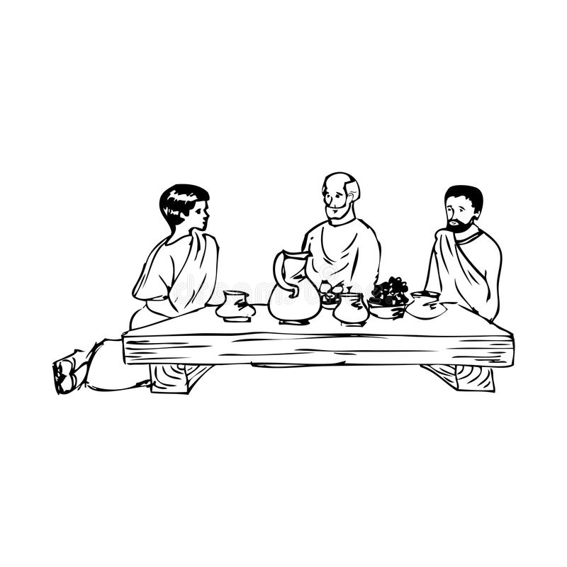 Ancient people eating at the table vector illustration