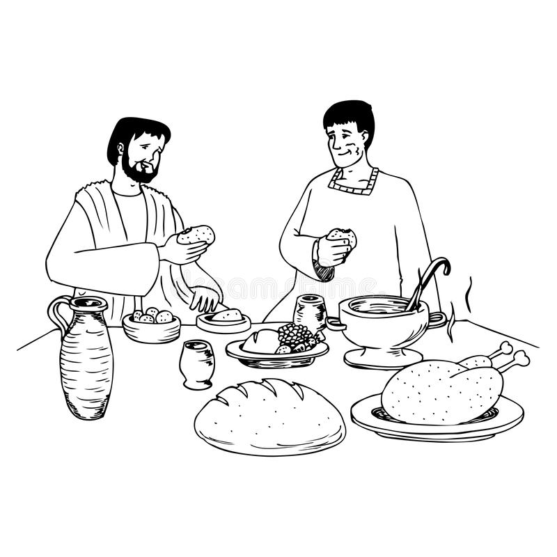 Download Ancient People Eating At The Table Stock Illustration - Image: 22803086