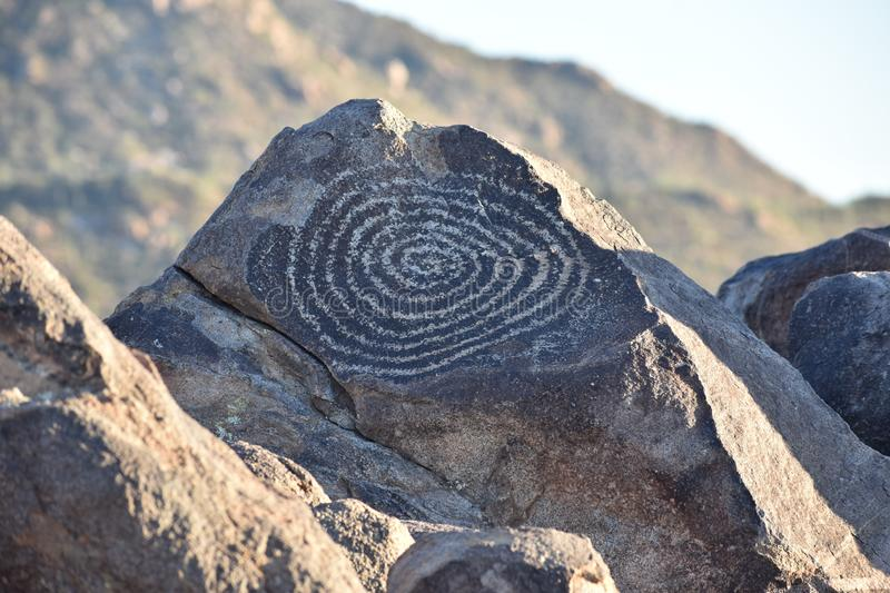 Ancient Petroglyph in Saguaro National Park royalty free stock image