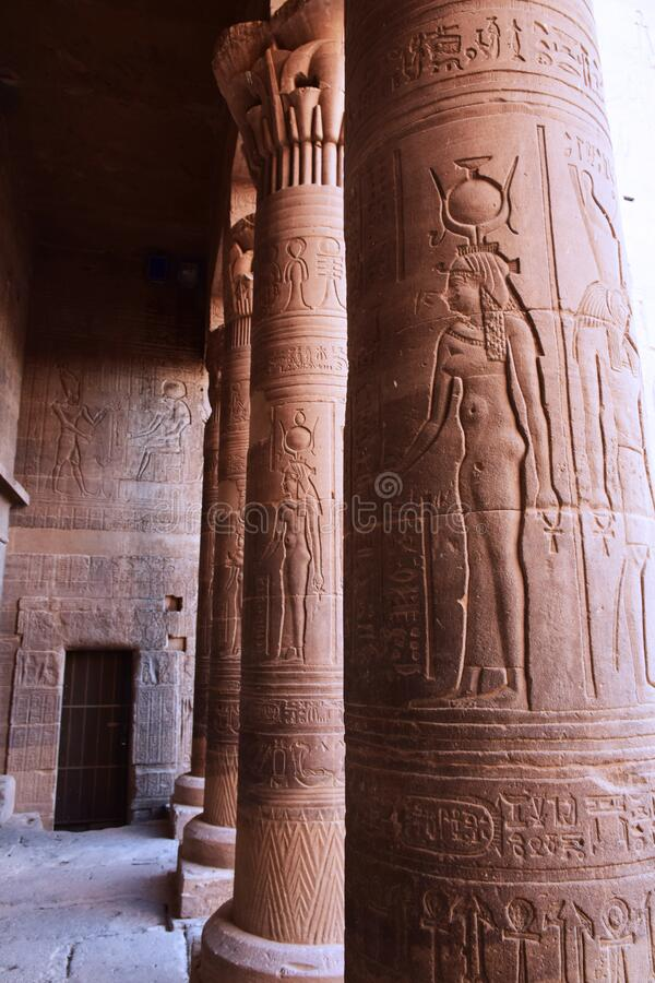 Ancient pharaohs Philae temple in Aswan Egypt in the river nile , old temple have hieroglyphs craved in its stones/Trajan`s Kiosk stock image