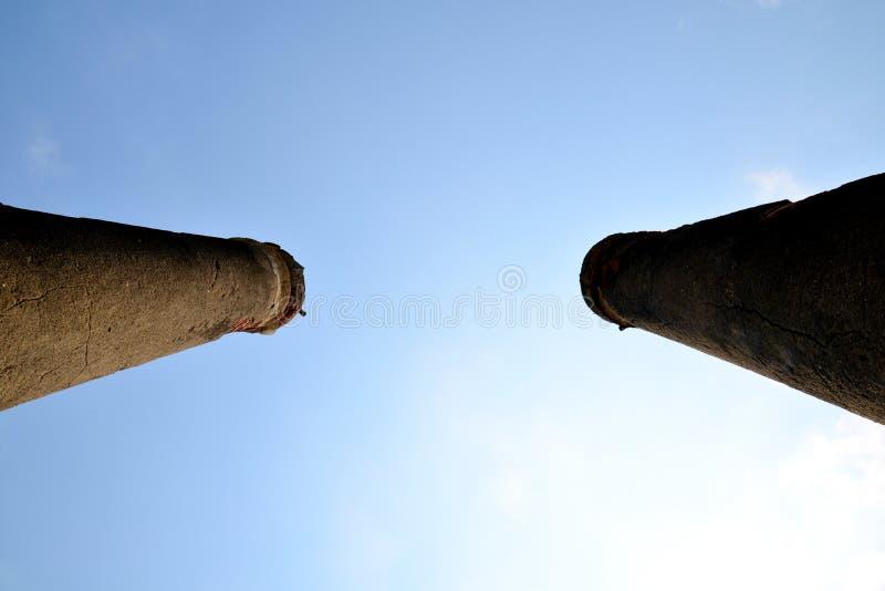 Ancient Pillar. Of Wat Yaichaimongkol with blue and cloud sky, Ayutthaya Province, Thailand stock photography
