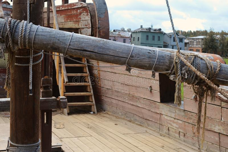 Ancient piracy wooden ship. stock images
