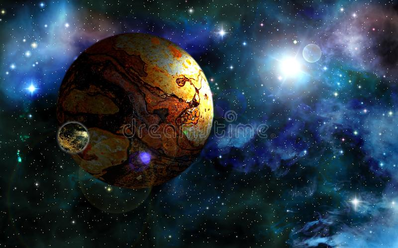 Ancient planet. Deep outer space background with stars and nebula