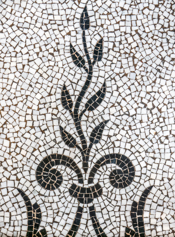 Ancient Plant Mosaic Tile Pattern. Background Pattern Of Ancient Mosaic Tiles Depicting A Plant Of Vine royalty free stock photography