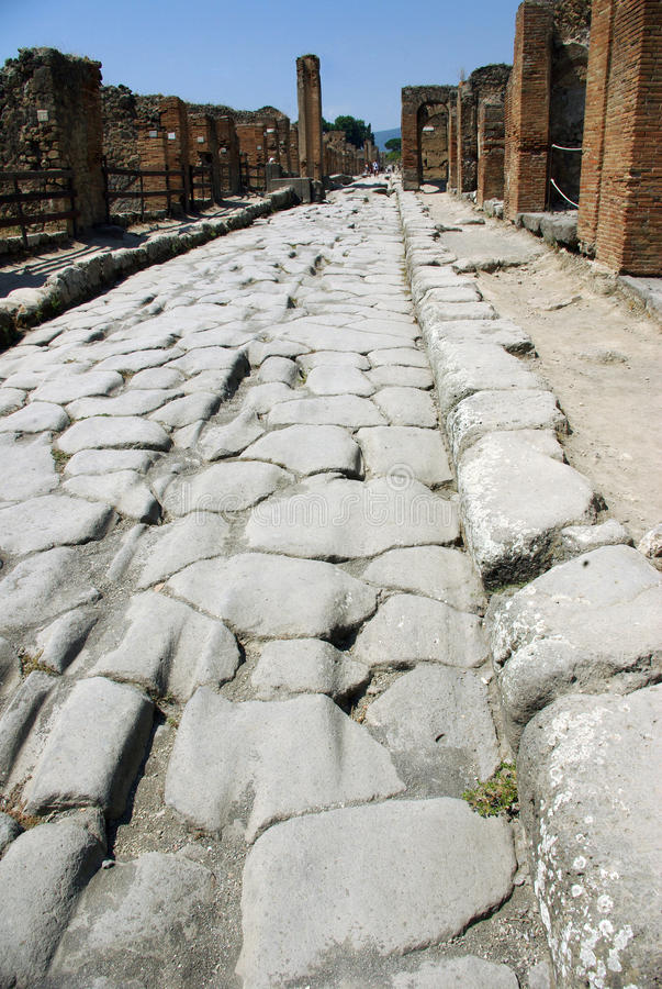 The ancient Pompei, Italy. Way of the ancient city of Pompei - Italy stock photography