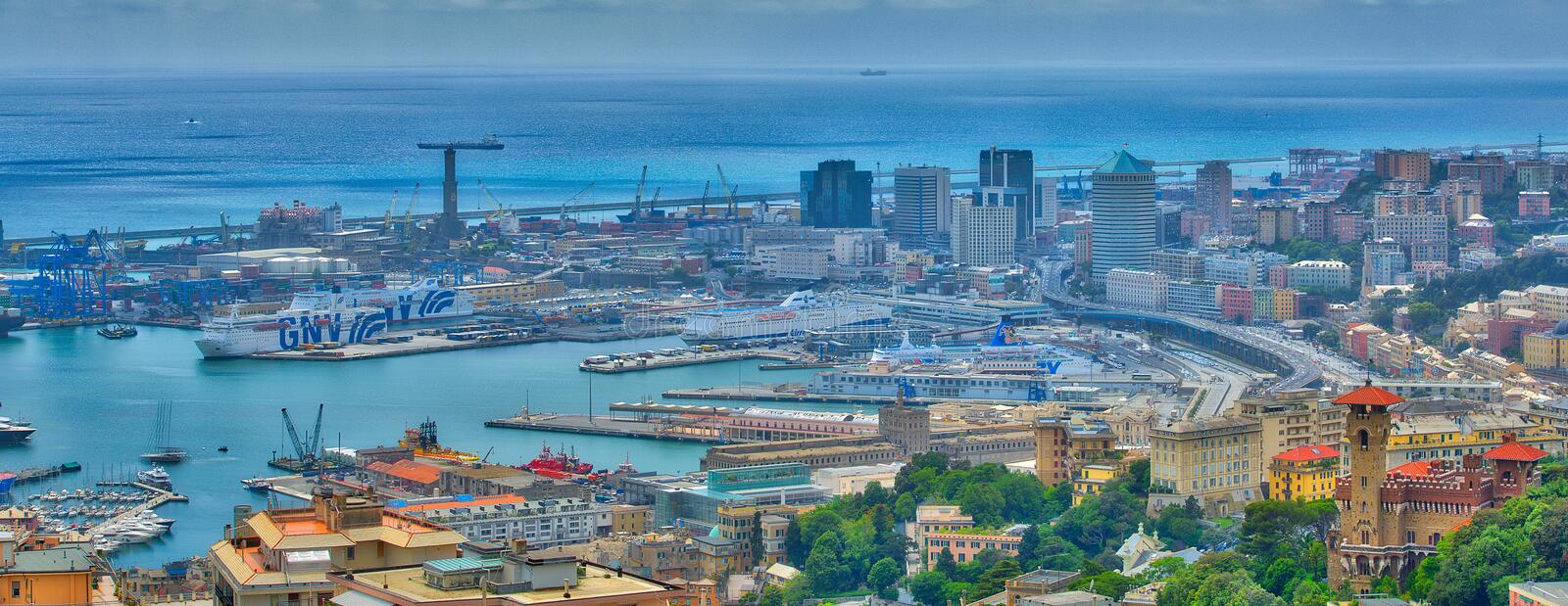Ancient port of Genoa. From above royalty free stock images