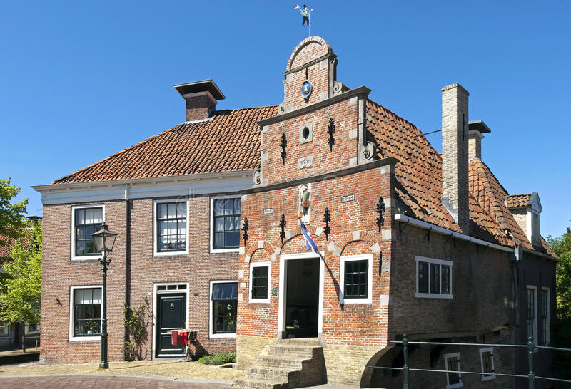 Ancient porters cottage, Franeker, Netherlands. Netherlands, Friesland province, city, small town Franeker: historical artchitectuur in the conservation area. In royalty free stock photos