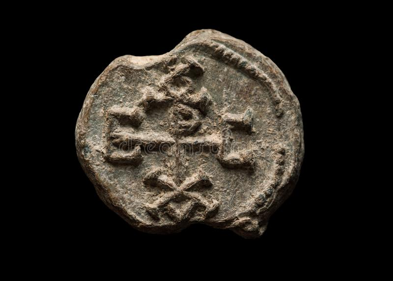 Ancient post seal with symbols on it stock photo