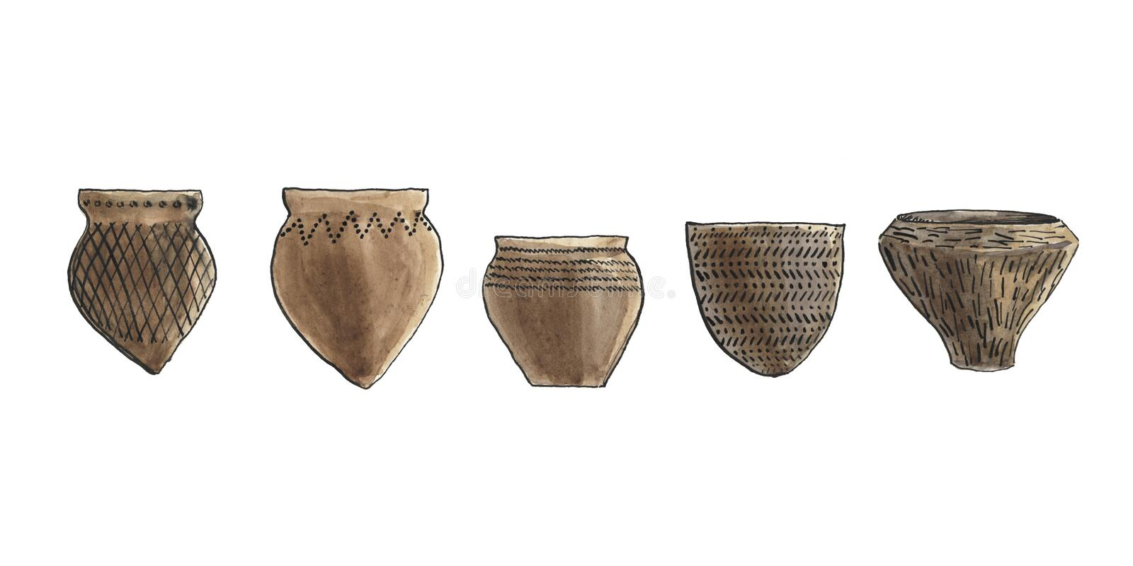 Ancient pottery royalty free illustration