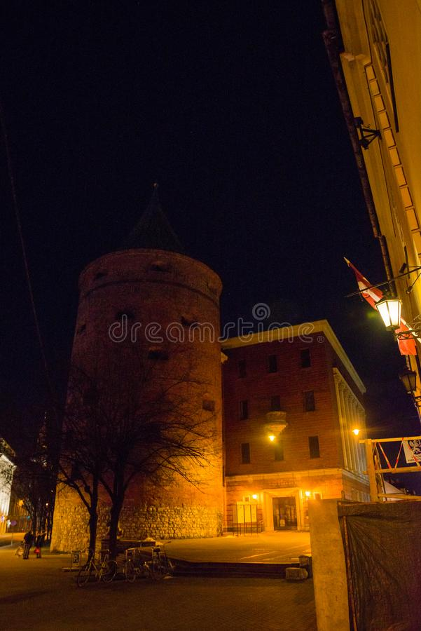 Ancient Powder Tower in Riga. Nowadays the building is the Latvian War Museum and World Heritage Site of UNESCO. In 2014, Riga was. Ancient Powder Tower XIV c stock photo
