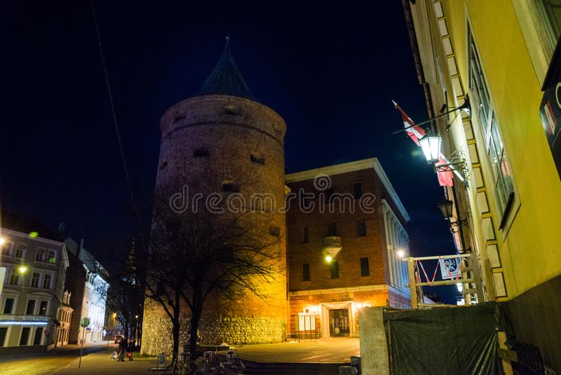 Ancient Powder Tower in Riga. Nowadays the building is the Latvian War Museum and World Heritage Site of UNESCO. In 2014, Riga was. Ancient Powder Tower XIV c royalty free stock photo