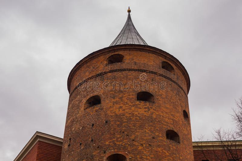 Ancient Powder Tower in Riga. Nowadays the building is the Latvian War Museum and World Heritage Site of UNESCO. In 2014, Riga was. Ancient Powder Tower XIV c stock photos