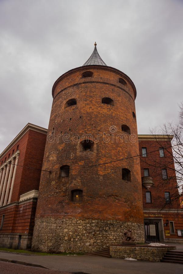 Ancient Powder Tower in Riga. Nowadays the building is the Latvian War Museum and World Heritage Site of UNESCO. In 2014, Riga was. Ancient Powder Tower XIV c royalty free stock photos