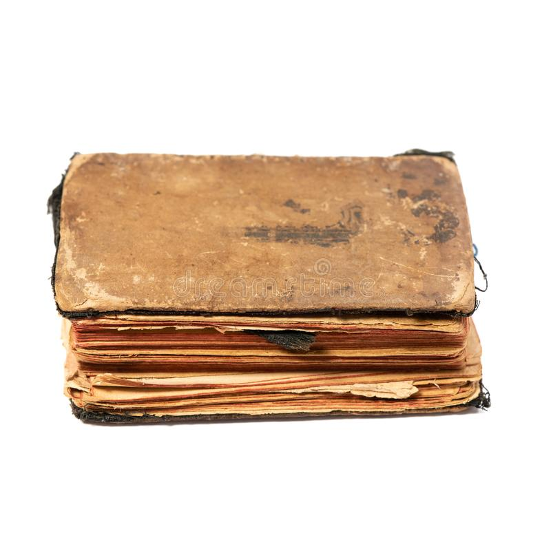 Ancient prayer book, anglewise. Object isolated on white background with clipping path stock photo