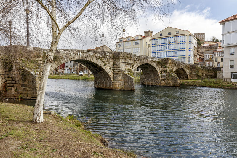 Ancient pre-Roman bridge in Monforte de Lemos royalty free stock photography