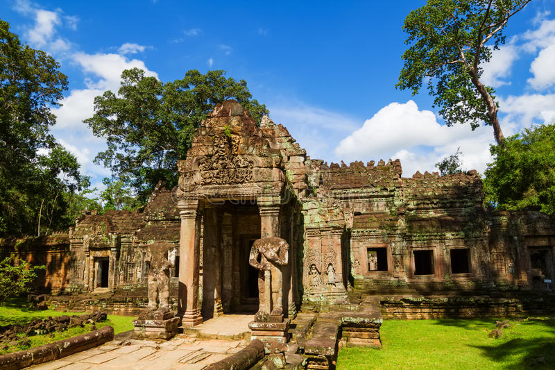 Ancient Preah Khan temple. Entrance, Siem Reap, Cambodia royalty free stock photography