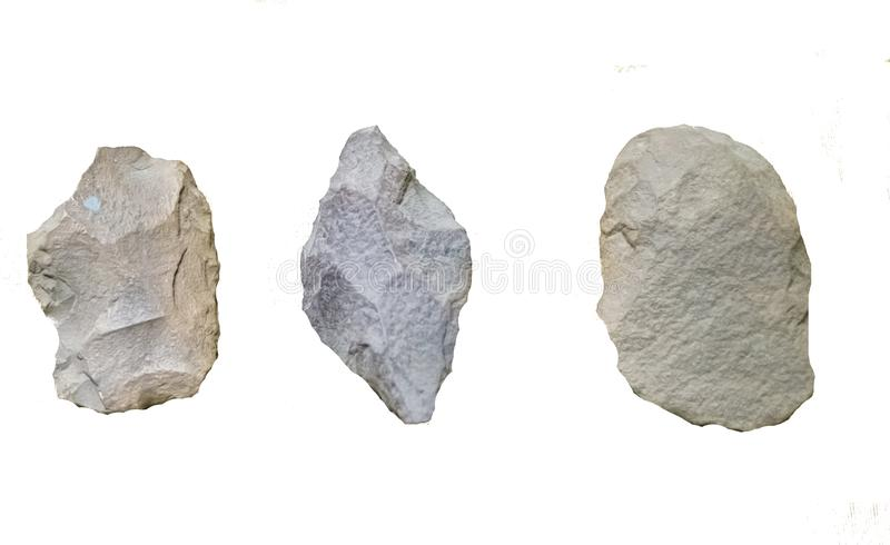 Ancient Prehistoric Stone age Tools. Ancient Prehistoric Stone age hand Tools used by nomads in India millions of years ago for scrapping breaking cutting royalty free stock photos