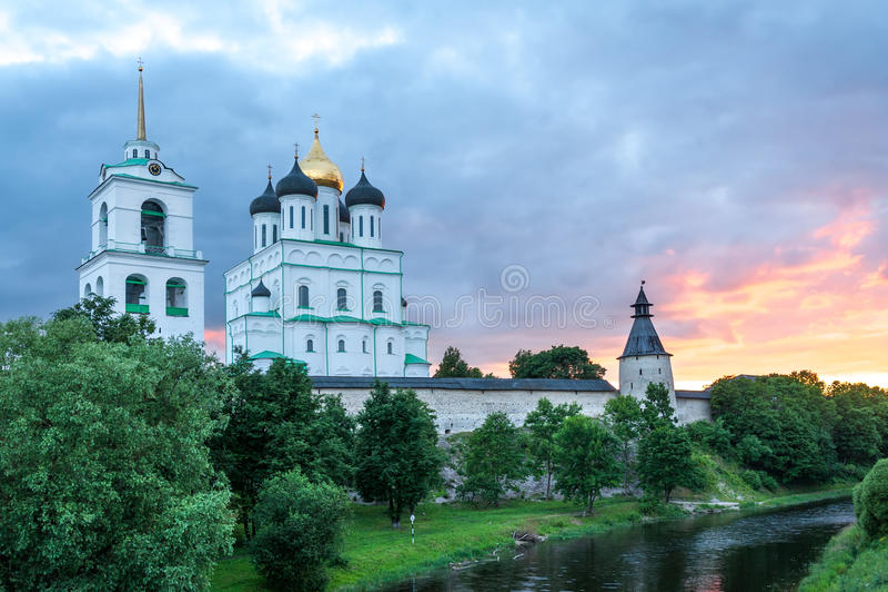 Ancient Pskov Kremlin stock image