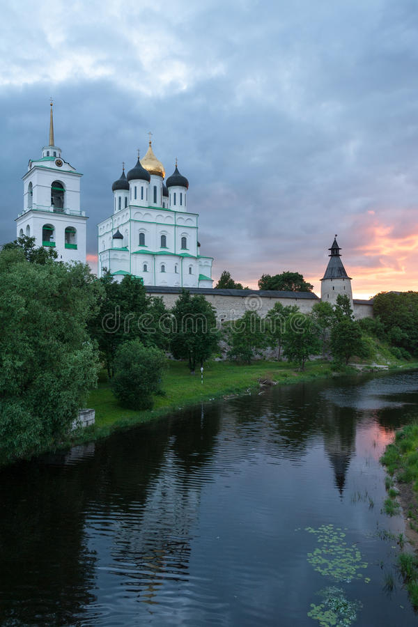 Ancient Pskov. Krom at sunset on Velikaya river, Russia royalty free stock photos
