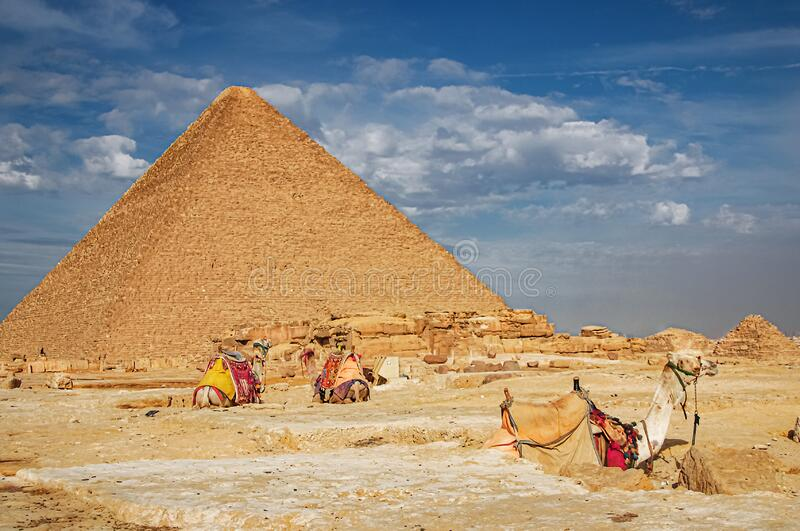 The ancient pyramid of Chefren in Giza, Egypt.  stock image