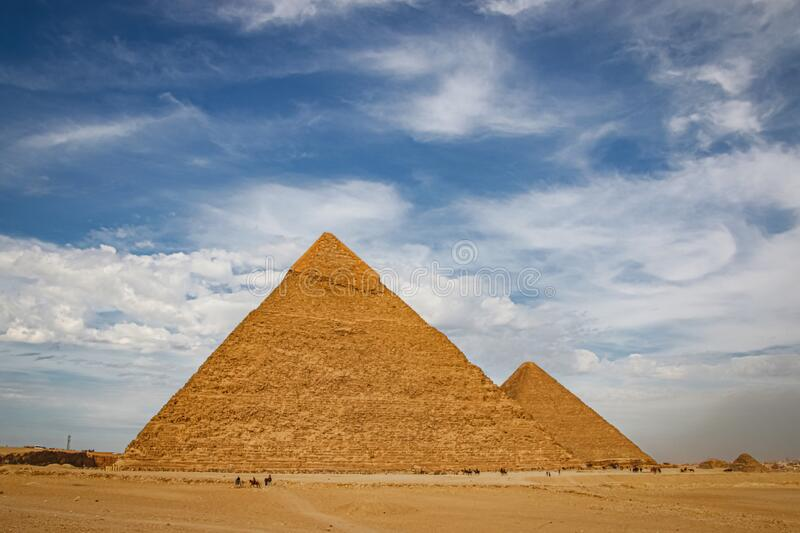 The ancient pyramid of Chefren in Giza, Egypt.  royalty free stock images