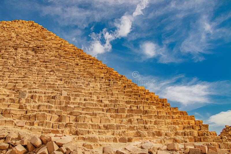 Ancient Pyramid of Mycerinus, Menkaur in Giza, Egypt.  stock images