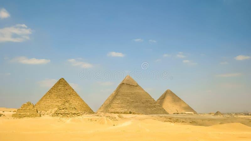 Ancient pyramids at giza near cairo in egypt stock photography