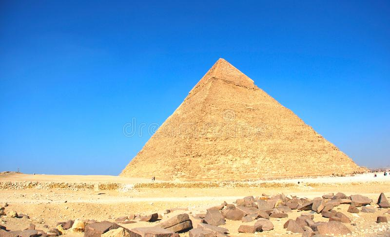 Ancient pyramids of Giza near Cairo Egypt. Great monument - Ancient pyramid of Giza near Cairo Egypt stock photography